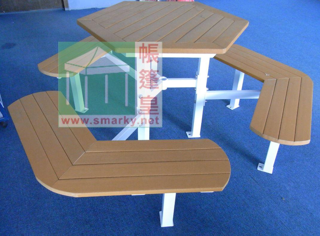 環保木連體桌椅組合-XBW-71